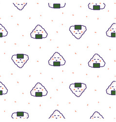 onigiri rice ball japan seamless pattern vector image