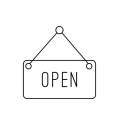 Open hanging sign line icon vector