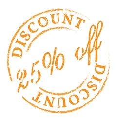 Orange 25 off discount stamp vector image