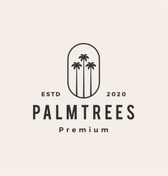 palm tree hipster vintage logo icon vector image