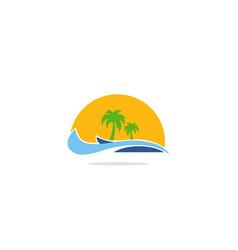 palm tree ocean beach tropic logo vector image