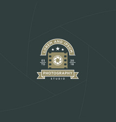 Photo and video production badge or label design vector
