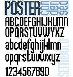 Poster black semibold condensed font and numbers vector