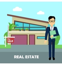 Real estate broker at work Building for sale vector image