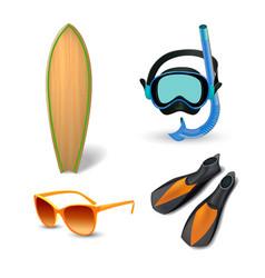 realistic summer holidays seaside beach icons set vector image