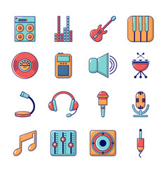 Recording studio symbols icons set cartoon style vector