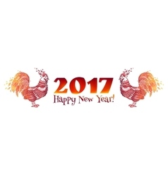 Red doodle style fire colors roosters - Chinese vector image