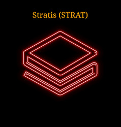 Red neon stratis strat cryptocurrency symbol vector