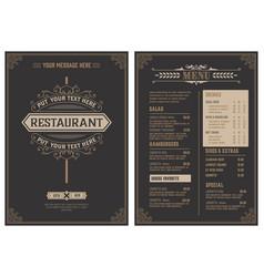 Retro template for restaurant menu design vector