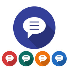 Round icon of elliptical speech bubble flat style vector