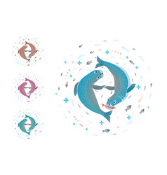 seals playing together fish circle design vector image