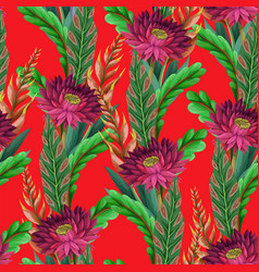 seamless pattern with tropical flowers trendy vector image