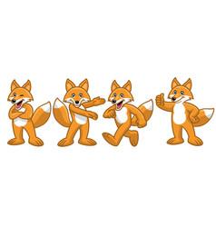 Set cartoon fox character vector