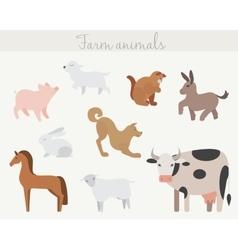 set cute cartoon farm animals vector image