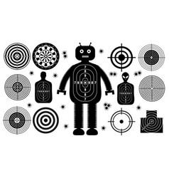 Set targets shoot gun aim people man isolated vector