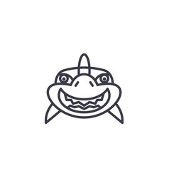 shark smile line icon sign vector image