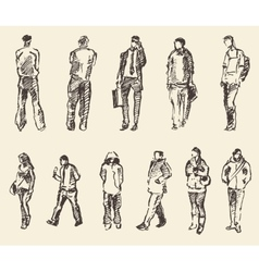 Sketch of people hand drawing vector