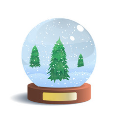 snow globe with metal badge isolated on vector image