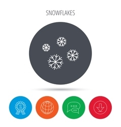 Snowflakes icon Snow sign Air conditioning vector image
