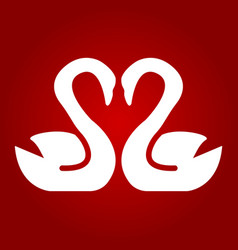 swans in love glyph icon valentines day vector image