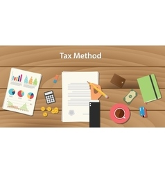 Tax method concept with businessman working on vector
