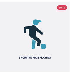 Two color sportive man playing with a ball icon vector