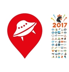 Ufo Place Icon with 2017 Year Bonus Symbols vector image