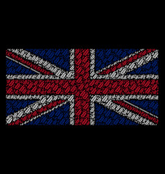 uk flag mosaic of leaf branch items vector image