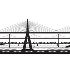 Various bridges cross the river vector