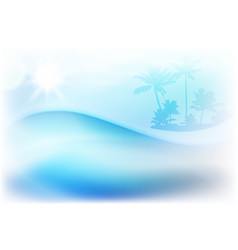 Water wave and island with palm trees vector
