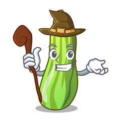 Witch fresh green zucchini in cartoon box vector