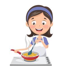 woman cooking potatoes vector image