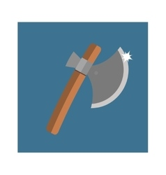 Wooden axe cartoon flat icon of handle wood work vector image