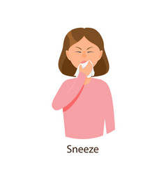 Young sick girl suffering from rhinitis vector
