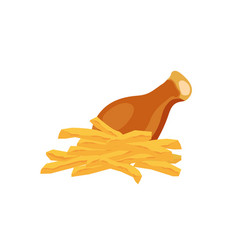 chicken and potato cartoon food icon vector image