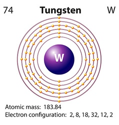 Diagram representation of the element tungsten vector image vector image
