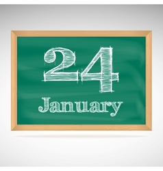 January 24 inscription in chalk on a blackboard vector