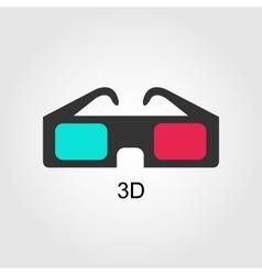 Modern 3D cinema glasses flat design vector image