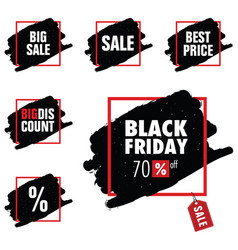 black friday with tag sale in red frame set vector image vector image
