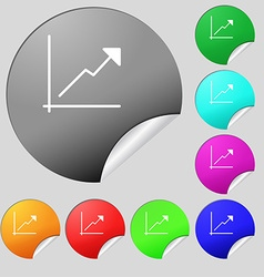 Chart icon sign Set of eight multi colored round vector image vector image