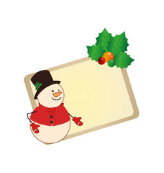 color christmas card with snowman with holly vector image