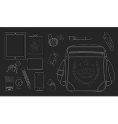 Every day carry man items set2 Chalkboard vector image vector image