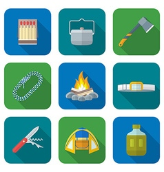 flat style colored various camping icons vector image vector image