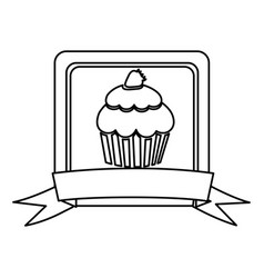 silhouette square frame with ribbon and cupcake vector image