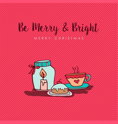 christmas new year cute cartoon decoration card vector image