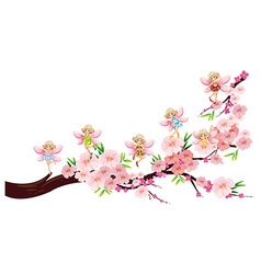 Fairies flying on blossom branch vector image vector image