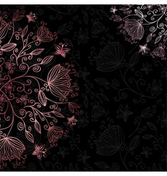floral card black vector image vector image