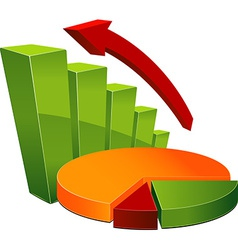 Graph and pie chart vector image