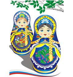 russian nesting dolls in the blue dress vector image