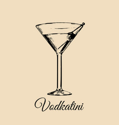 Vodkatini glass isolated hand drawn sketch of vector